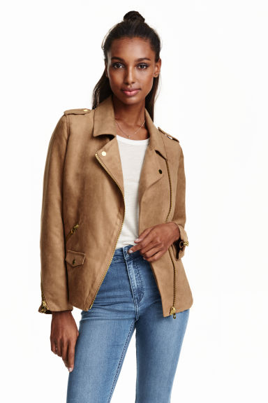 Imitation suede biker jacket - Beige - Ladies | H&M GB