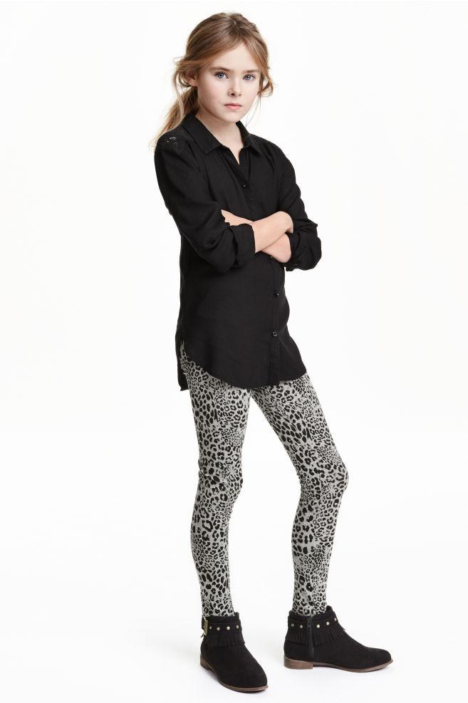 1930a3b400b66 Patterned leggings - Grey/Leopard print - Kids | H&M ...