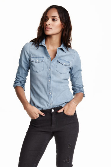 Fitted denim shirt - Light denim blue - Ladies | H&M GB