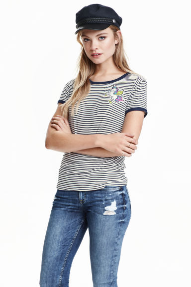 Striped T-shirt - Dk.blue/Unicorn -  | H&M GB
