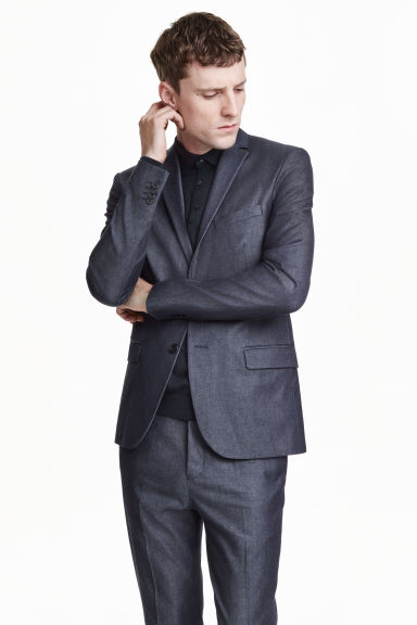 Denim suit jacket - Dark denim blue - Men | H&M GB
