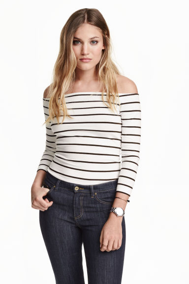 Off-the-shoulder top - White/Striped - Ladies | H&M GB