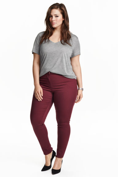 H&M+ Stretch trousers - Plum - Ladies | H&M