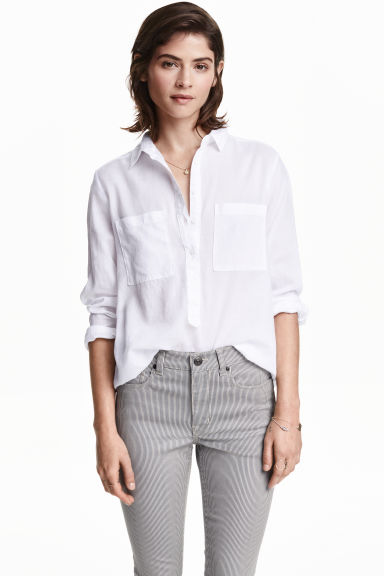 Cotton shirt - White - Ladies | H&M GB