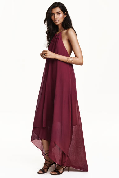 Necklace trim dress - Burgundy - Ladies | H&M GB