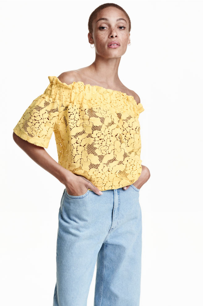 23b20a1e2a5 Lace off-the-shoulder top - Yellow - Ladies | H&M ...