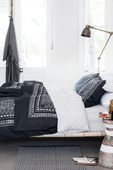 Duvet cover set - Anthracite grey/Patterned - Home All | H&M GB