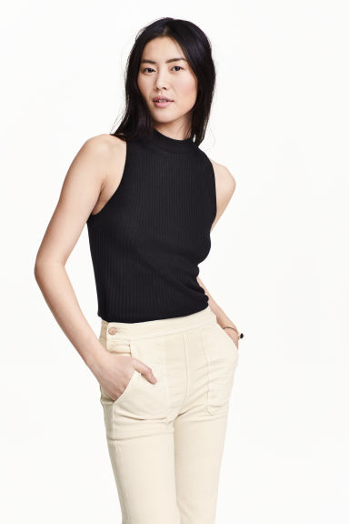 Fine-knit top - Black - Ladies | H&M GB