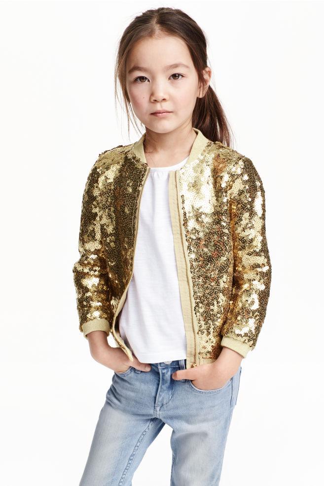 90ed65d5 Sequined bomber jacket - Gold - Kids | H&M ...