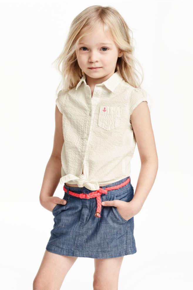 2cfea6f9161 Блуза от памук с възел отпред - Бял - ДЕЦА | H&M ...