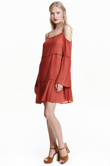 Off-the-shoulder dress - Rust - Ladies | H&M GB