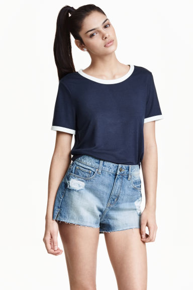 T-shirt corta - Blu scuro - DONNA | H&M IT