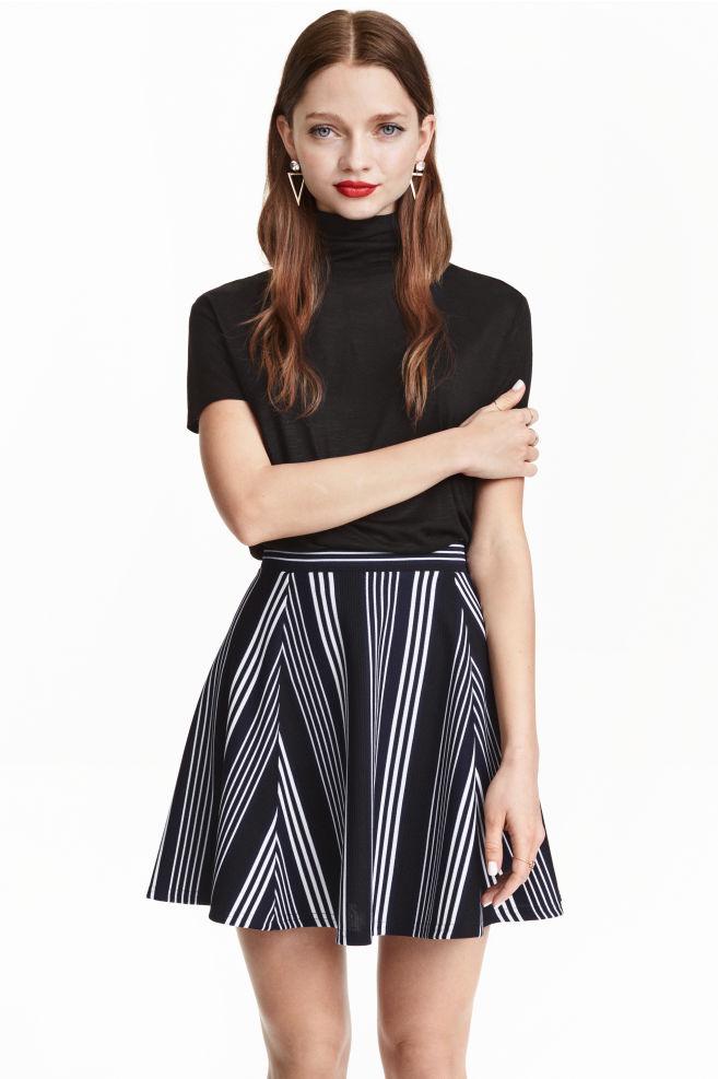 21ad67174b7b Skater skirt - Dark blue/Striped - Ladies   H&M ...