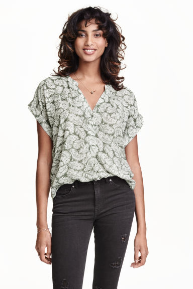 Patterned blouse - Dark green/Feathers - Ladies | H&M CN