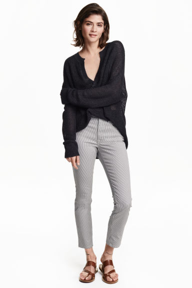 Pantaloni in twill Cropped - Blu/righe - DONNA | H&M IT
