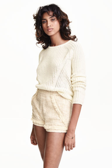 Shorts con frange - Bianco naturale -  | H&M IT