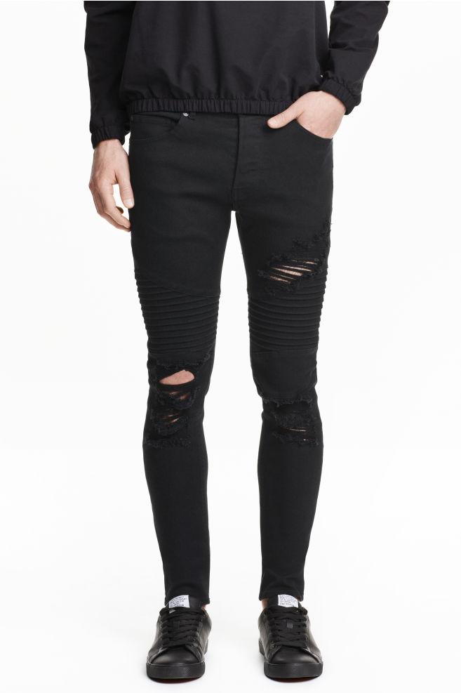 Skinny Trashed Biker Jeans Black Men H M Cn