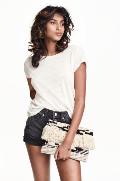 Linen T-shirt - White - Ladies | H&M GB