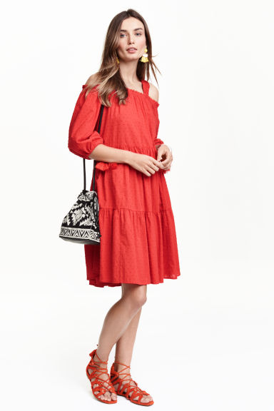 Off-the-shoulder dress - Red - Ladies | H&M GB