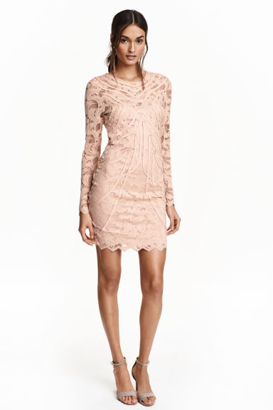 Lace dress - Powder beige - Ladies | H&M GB