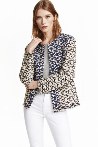 Jacquard-weave jacket - Black/White/Patterned -  | H&M CN