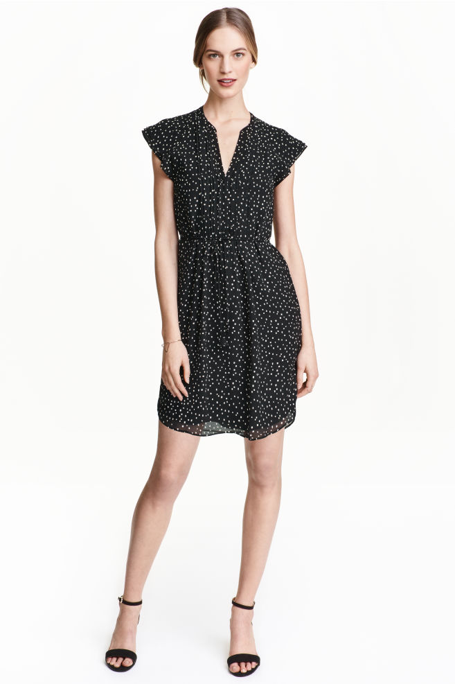 3da45aaee41e Dress with butterfly sleeves - Black/Spotted - Ladies | H&M ...