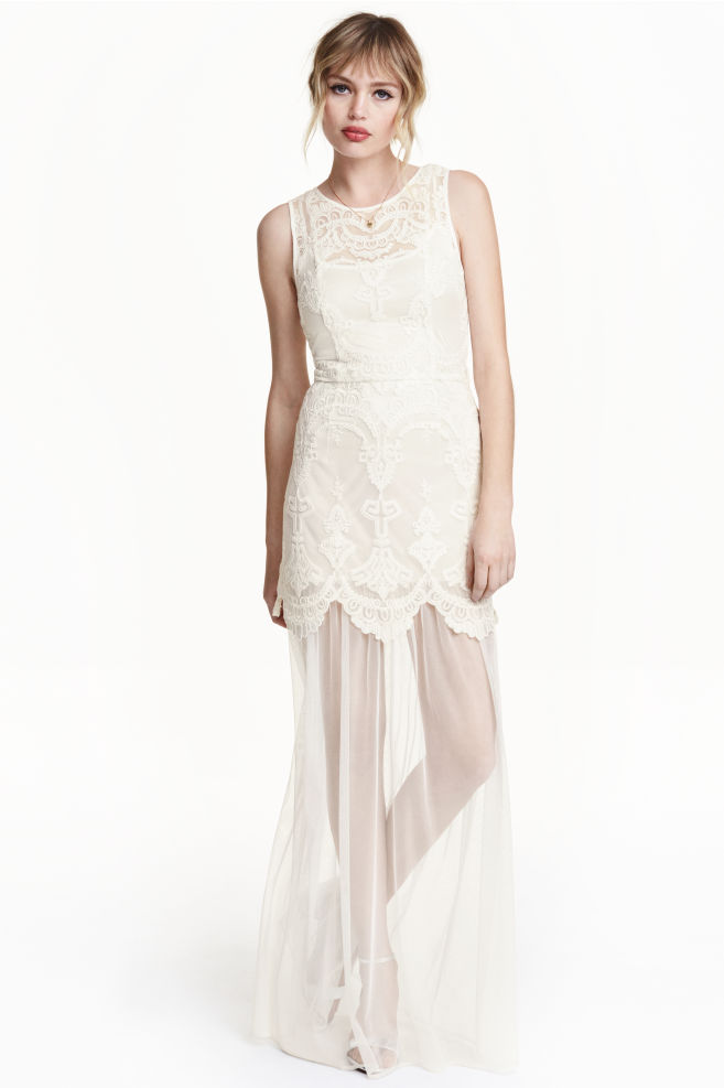 e6cf509d656 Embroidered tulle dress - White -