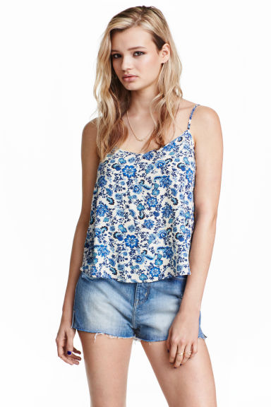 V-neck strappy top - White/Blue/Floral -  | H&M GB