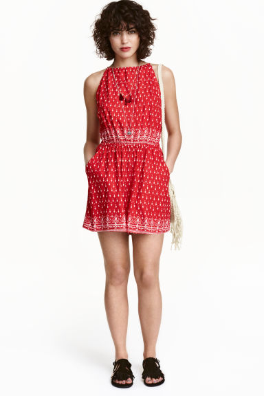 Patterned playsuit - Red/Patterned - Ladies | H&M GB