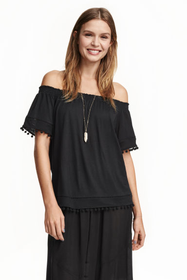 Off-the-shoulder top - Black - Ladies | H&M GB