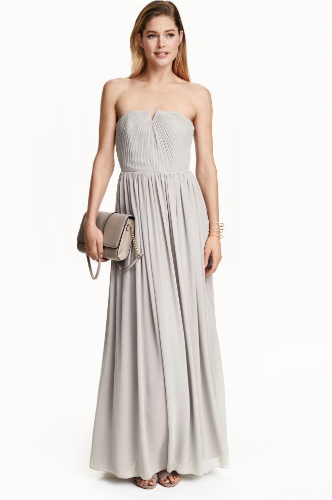 fc6bb2de7 Dlhé plisované šaty - svetlosivá - ŽENY | H&M ...