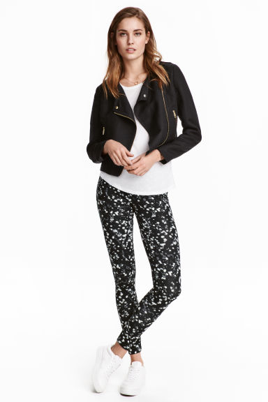 Jersey leggings - Black/Patterned - Ladies | H&M