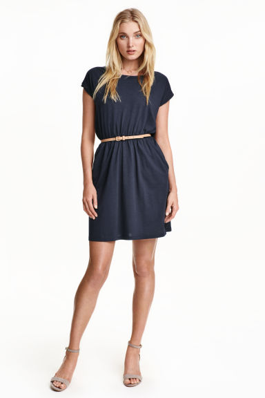 Short-sleeved jersey dress - Dark blue - Ladies | H&M