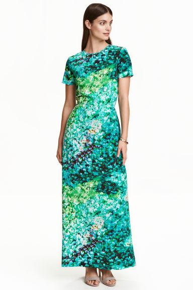 2ac036bb18c5 Dlhé hodvábne šaty - tyrkysová vzorovaná - ŽENY