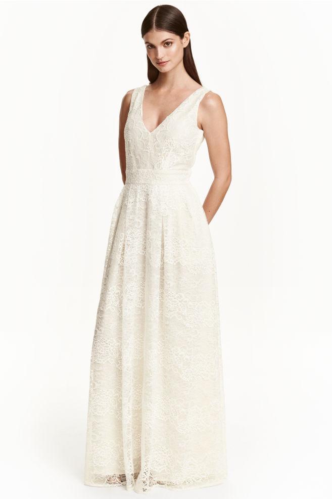 fe4775e9d Vestido largo de encaje - Blanco natural - MUJER