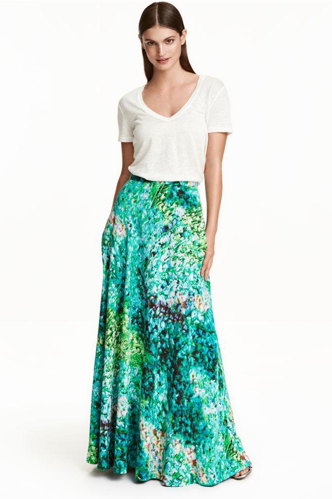 f7b48658ff6d Dlhá hodvábna sukňa - tyrkysová vzorovaná - ŽENY