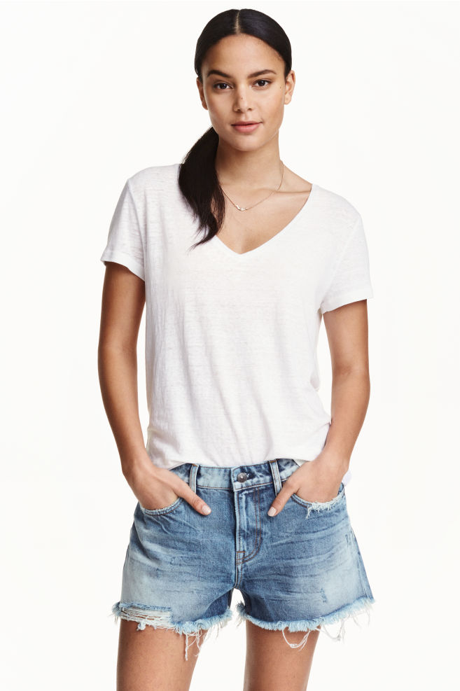 2721044959 Short en jean Boyfriend low - Bleu denim - FEMME | H&M ...