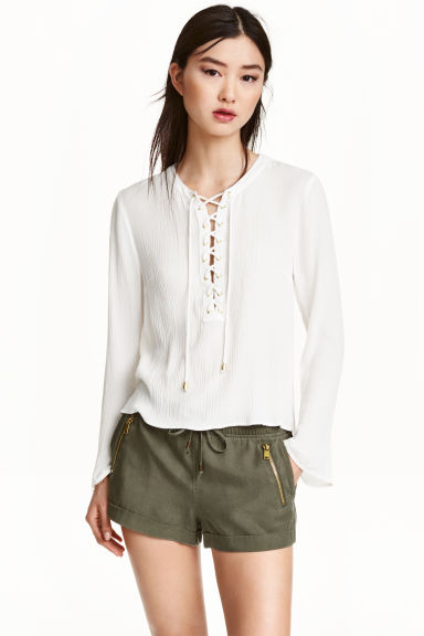 Blouse with lacing - White -  | H&M GB