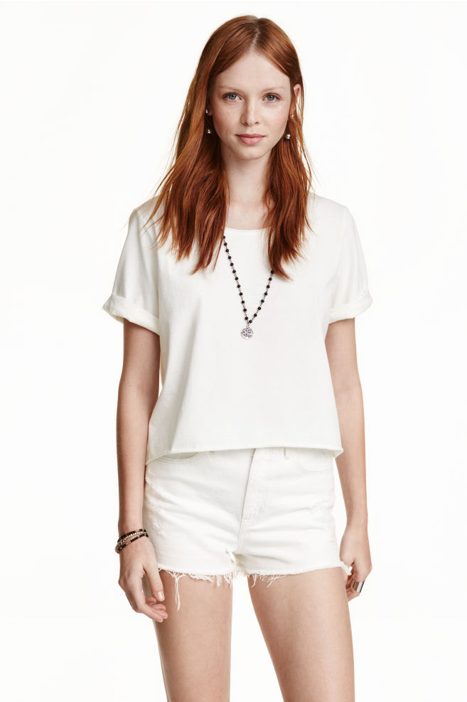 5fd54104 Cropped T-shirt - White - Ladies | H&M ...