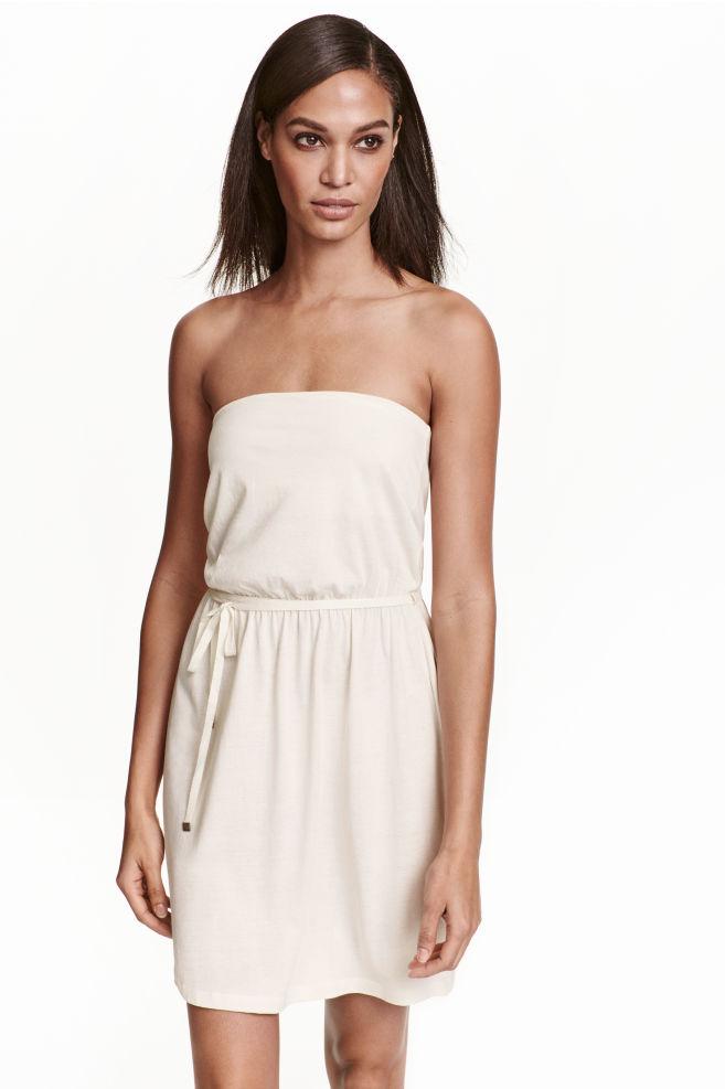 0c583fb28e5 Váll nélküli dzsörzéruha - Természetes fehér - NŐI | H&M ...