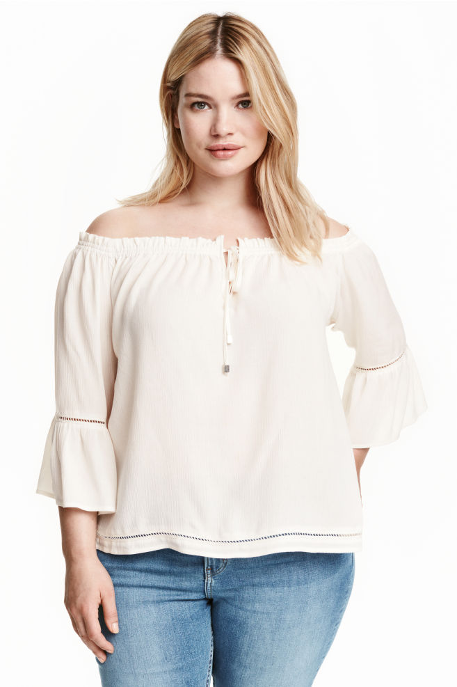 8009e7feab7 H&M+ Off-the-shoulder blouse - Natural white - Ladies | H&M ...