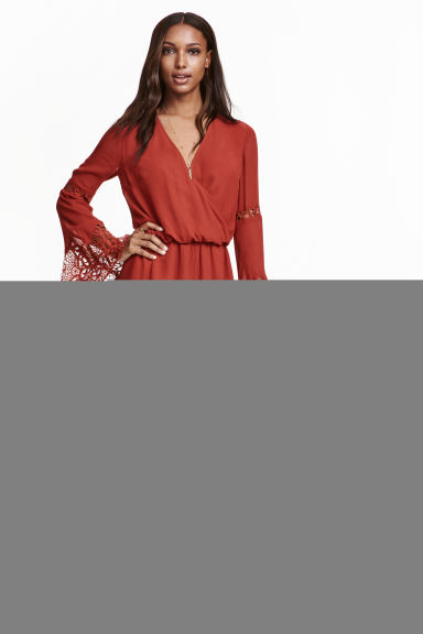 Playsuit with lace details - Rust red - Ladies | H&M GB