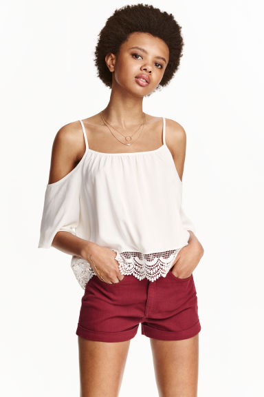 Shorts in twill High waist - Rosso scuro -  | H&M CH