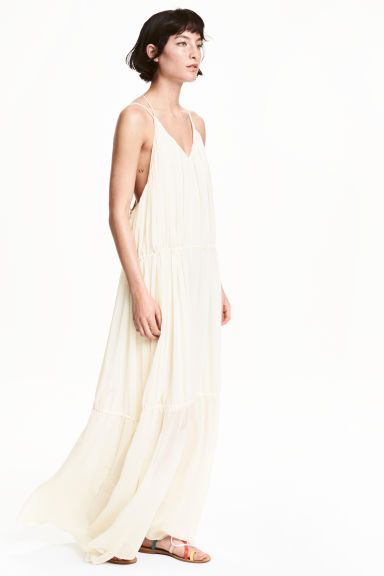 Chiffon maxi dress - Natural white - Ladies | H&M GB