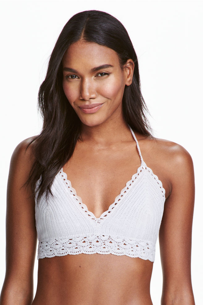 cce3f1eb28cc2 Crocheted triangle bikini top - White - Ladies | H&M ...