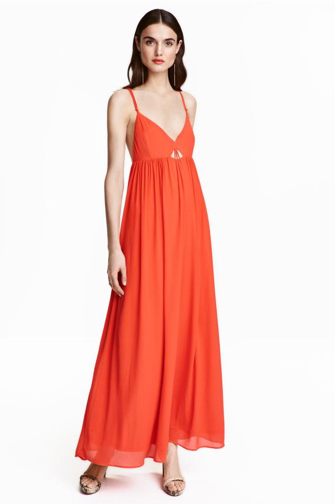 7ec9f59ac5e Robe longue en mousseline - Rouge corail - FEMME