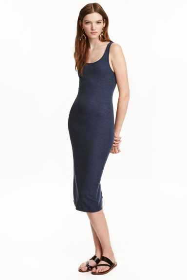 Ribbed dress - Dark blue - Ladies | H&M