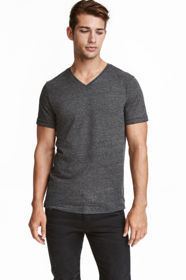 T-shirt scollo a V Slim fit - Grigio scuro mélange - UOMO | H&M IT