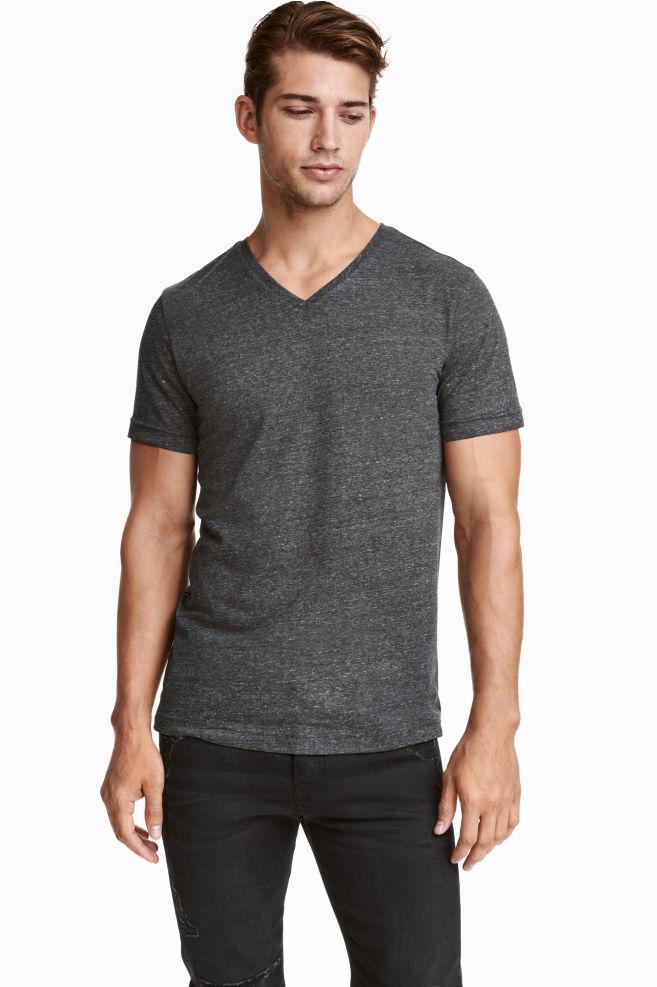 64f3461721e V-neck T-shirt Slim fit - Dark grey marl - Men