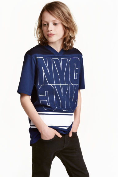T-shirt lunga in cotone - Blu scuro/New York -  | H&M IT
